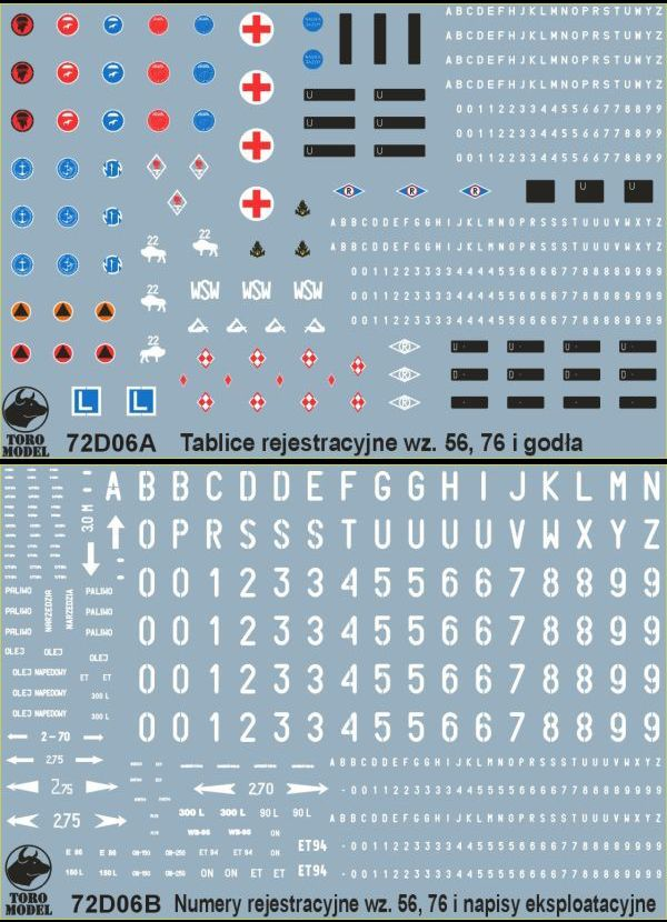 Polish Army vehicles Registration numbers 56 & 76 pattern, unit insignia & stencils